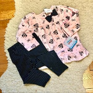 NWT Disney Baby LS Blouse and Polka dot Leggings